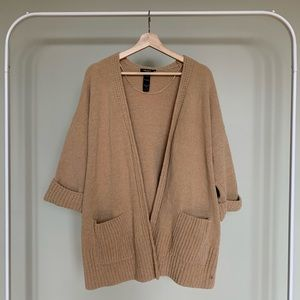 Olsen Europe Beige Knit Open Cardigan with Pockets